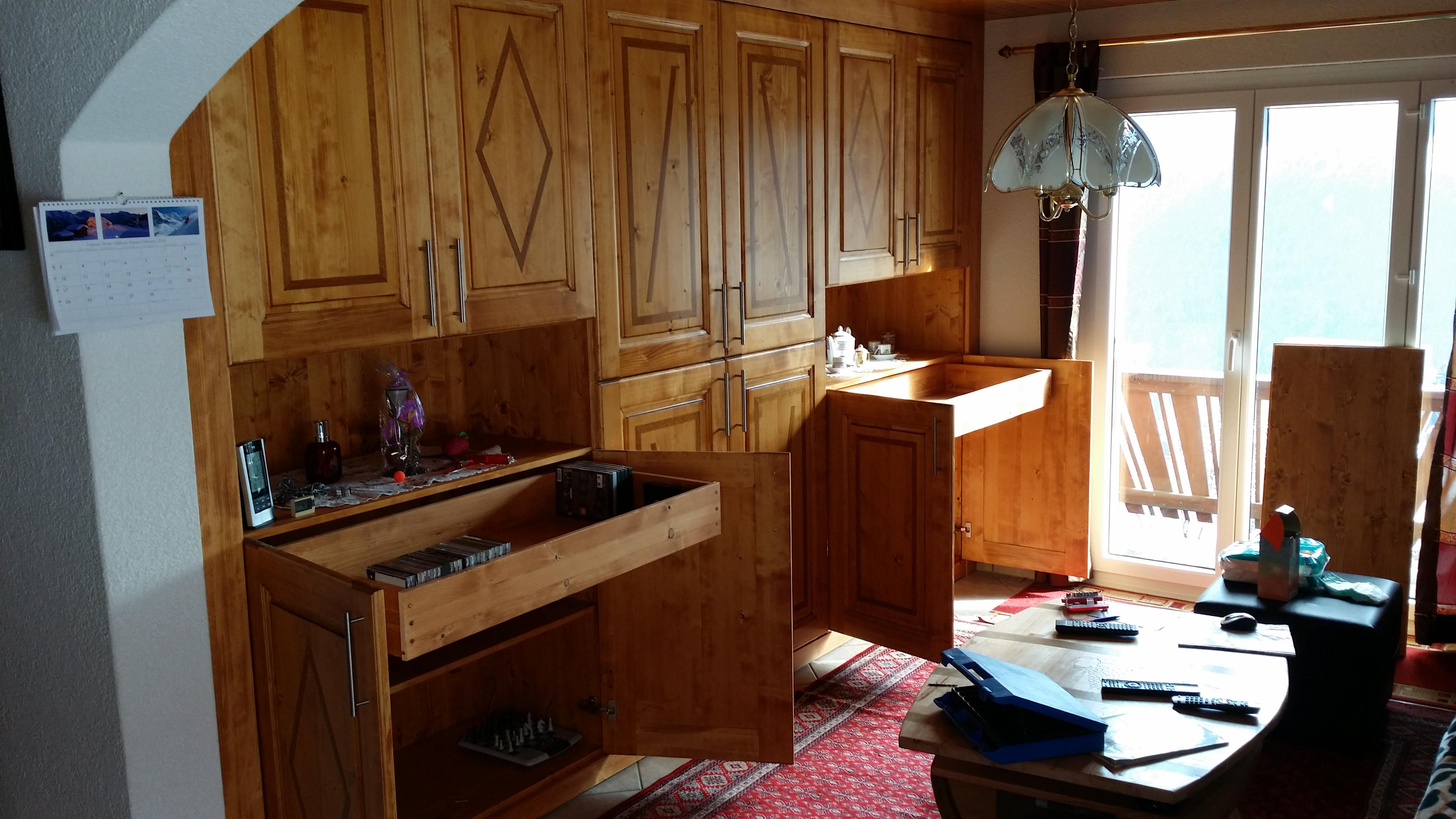 Atelier jv bois fabrication et pose d une armoire murale for Fabrication de salon